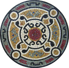 "20"" Handmade Marble Mosaic Medallion  Art Stone Tile Home Decor."