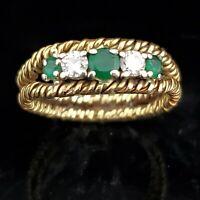 Vintage Diamond Emerald 18k Yellow Gold Band Ring Estate Anniversary Gift