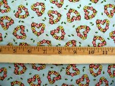 MARY ENGELBREIT SMALL FLORAL HEARTS PINK BLUE YELLOW FLOWERS COTTON FABRIC