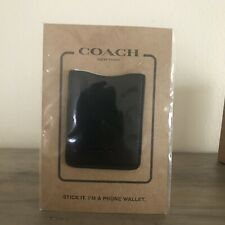 Coach Black Leather Pocket Sticker Cell Phone Wallet/Card Case F24051 With Box