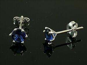 925 Silber Ohrstecker mit 6 Krappen 1 Paar 6  mm  mit synthetischen Saphiren