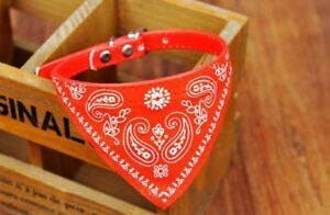 Dog collar bandana neck tie pet animal cat red blue black pink fauxleather lead