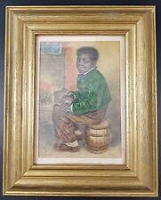 "George Baxter Print, c 1850's Black Boy ""Me Warm Now"", Framed & Glazed"
