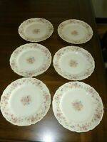 Thomas Ivory - Bavaria - Rose Gold Trimmed China - Germany 6 Salad Plates F/S!