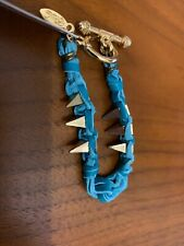 Ettika Friendship Bracelet Blue Leather Spikes Gold Plated Celebrity Boutique 7""