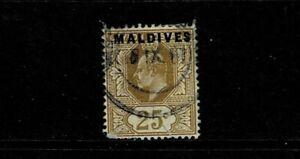MALDIVE 1906 25c BISTRE USED