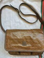 FENDI Monogram Nylon Brown Shoulder Messenger Crossbody Bag