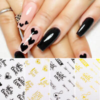 3D Nail Stickers Lovely Letters Totem Transfer Decals Decoration Nail Art Paper