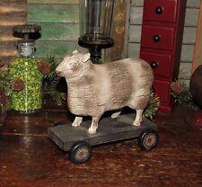 Primitive Antique Style Farm Barn Yard Pull Toy SHEEP Lamb WHEELS Shelf Sitter
