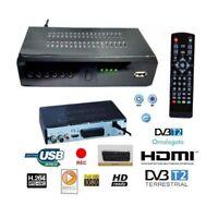 DECODER RICEVITORE DIGITALE TERRESTRE DVB-T2 TV USB SCART HDMI 1080P TELECOMANDO