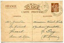 CARTE ENTIER POSTALE  FRANCE BOURBON LANCY POUR LE PUY 1941