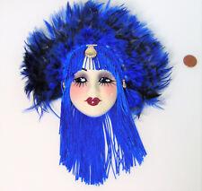 Fashion Decor LADY FACE MASK Wall Hanging Cobalt Blue Fringe Feathers Gold Shell