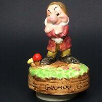 "Vintage Schmid ""Grumpy"" Rotating Music Box Figurine Walt Disney Productions"