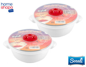2x 1L Microwave Pot Bowl Tub White Food Storage Container Round Vented Clear Lid