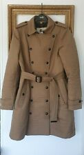 Burberry Prorsum Khaki Brown Quilted Trench Coat Jacket Size Large Uk 12 14