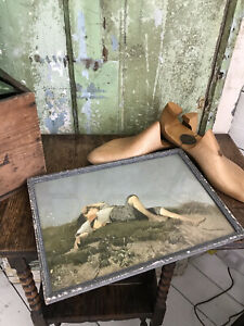 Early Vintage THE SHEPHERD BOY Print Picture Wood Framed w Glass T Lenbach