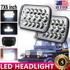 2pcs 7x6 inch LED Headlight For 1986-1995 Jeep Wrangler YJ 1984-2001 Cherokee XJ