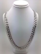"""Men's Solid 10K White Gold 22"""" Cuban Link Chain Necklace 48-50 grams 9.5 mm"""