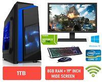 SUPER Fast Gaming PC Full Set Core i7 i5 8GB 1TB Windows 10 2GB GT710 WiFi HDMI