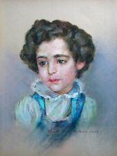 Mid Century Portrait Artwork Vintage Art Canvas Child Signed 1950s Framed Girl
