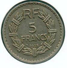 TRES RARE 5 FRANCS LAVRILLIER NICKEL DE 1938 ! RARE TOP