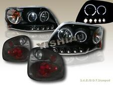 01-03 FORD F-150 FLARESIDE BLK HALO LED PROJECTOR HEADLIGHTS + TAIL LIGHTS SMOKE