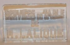1931 Services De Table De R. Lalique Frosted Dealer Advertising Plaque Sign Rene