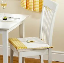 """4 X SUNFLOWER YELLOW EMBROIDERED GINGHAM KITCHEN CUSHION SEAT PAD 16"""" X 16"""" X 1"""""""