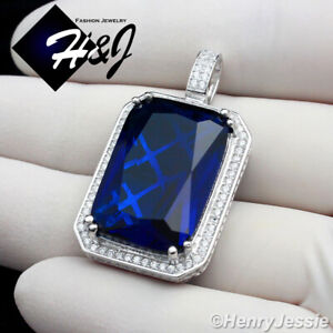 MEN 925 STERLING SILVER ICY DIAMOND BLING SAPPHIRE CHARM PENDANT*SP108