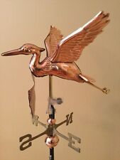 Good Directions Polished Copper Cottage Blue Heron Weathervane - 8805P w/RM