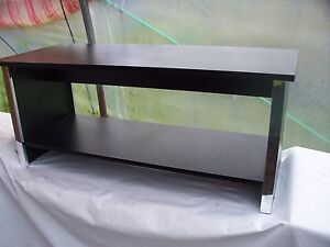 Dark Wood Twin Level Coffee Table With Chrome Legs