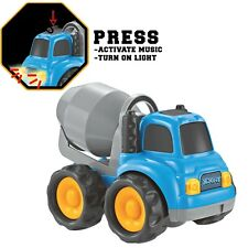 Toddler Toy Vehicle Rugged racer cement truck with lights & music Blue New