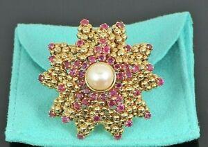 Rare Estate Vintage Tiffany & Co 18K Yellow Gold Ruby Pearl Starfish Pin Brooch