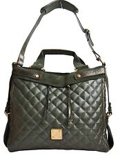 FRANCESCO BIASIA Womens Handbag Large Quilted Leather Suede Green