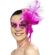 Smiffys Masquerade Carnival Angel Eyemask with Feathers Fancy Dress BNWT Pink