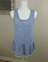 Beach Lunch Lounge Womens Blue Striped Linen Cotton Tank Top Blouse Shirt Size S