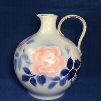 Fukagawa Seiji Floral Handled Sake Jug Cobalt Pink White Gold Trim