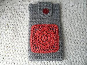 Hand Crochet Phone/Sunglasses/Glasses Case/Pouch in Grey Wool w/ Orange Applique