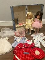 """""""Toni"""" dolls with trunk, blue, (2) dolls, with outfits"""