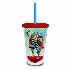 Marvel Retro Thor 18 oz. Carnival Travel Cup NEW Lid And Straw