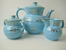 Drip o lator ceramic drip coffee maker with creamer and sugar turquoise and gold