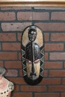 African wood wall art Hand carved dark wood face sculpture statue tinned metal