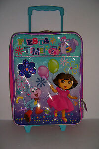 "DORA THE EXPLORER FIESTA TIME PILOT CASE 16"" GIRL'S ROLLING SUITCASE BAG NWT!"