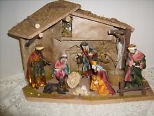 Christmas Nativity Wooden Stable & 8 Polyresin Figures December Home 9 Piece