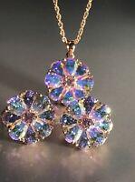 18k Gold GP Flower Pendant Necklace made w Swarovski Crystal Aurora Borealis