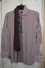 MICHELSONS LONDON Men SLIM-FIT BLUE RED WHITE LONG-SLEEVE DRESS SHIRT M NWT $278