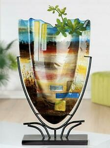 MASSIVE Magnificent Abstracto Art Glass Abstract Vase On Stand & Murano Label