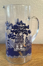 Vintage Glass Blue Willow Pitcher