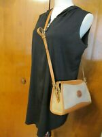 Vintage Dooney and Bourke Gray Brown Leather Shoulder Crossbody Bag Purse