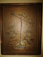Ancient Judaica bas-relief from the brass framed in wood - Weight